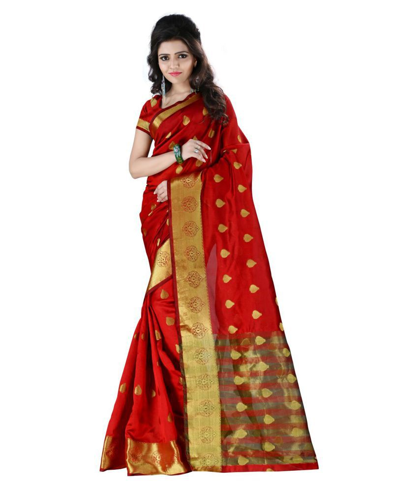 Latest Fashion Deals Red Cotton Silk Saree