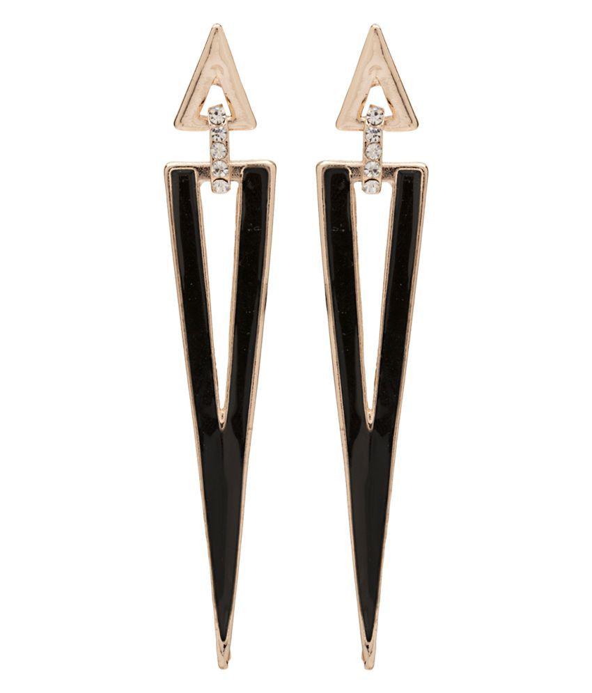 2010KHARIDO Contemporary Black Colored Alloy Hoop Drop Earring for Women