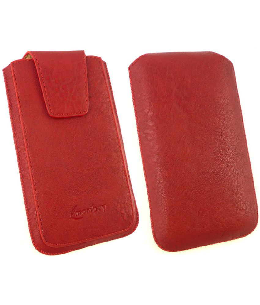 Xiaomi Redmi Note 2 Flip Cover by Emartbuy - Red