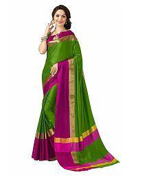 RAJWADI FAB Green Cotton Silk Saree