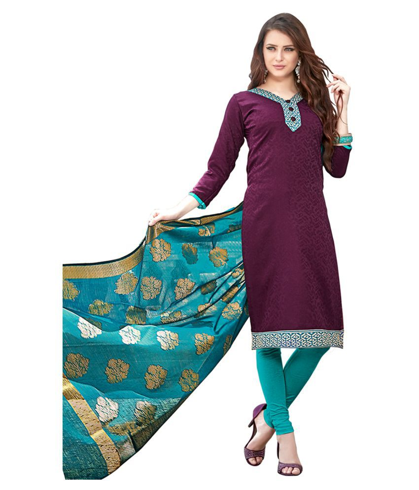 PRICE BET Maroon Jacquard Dress Material