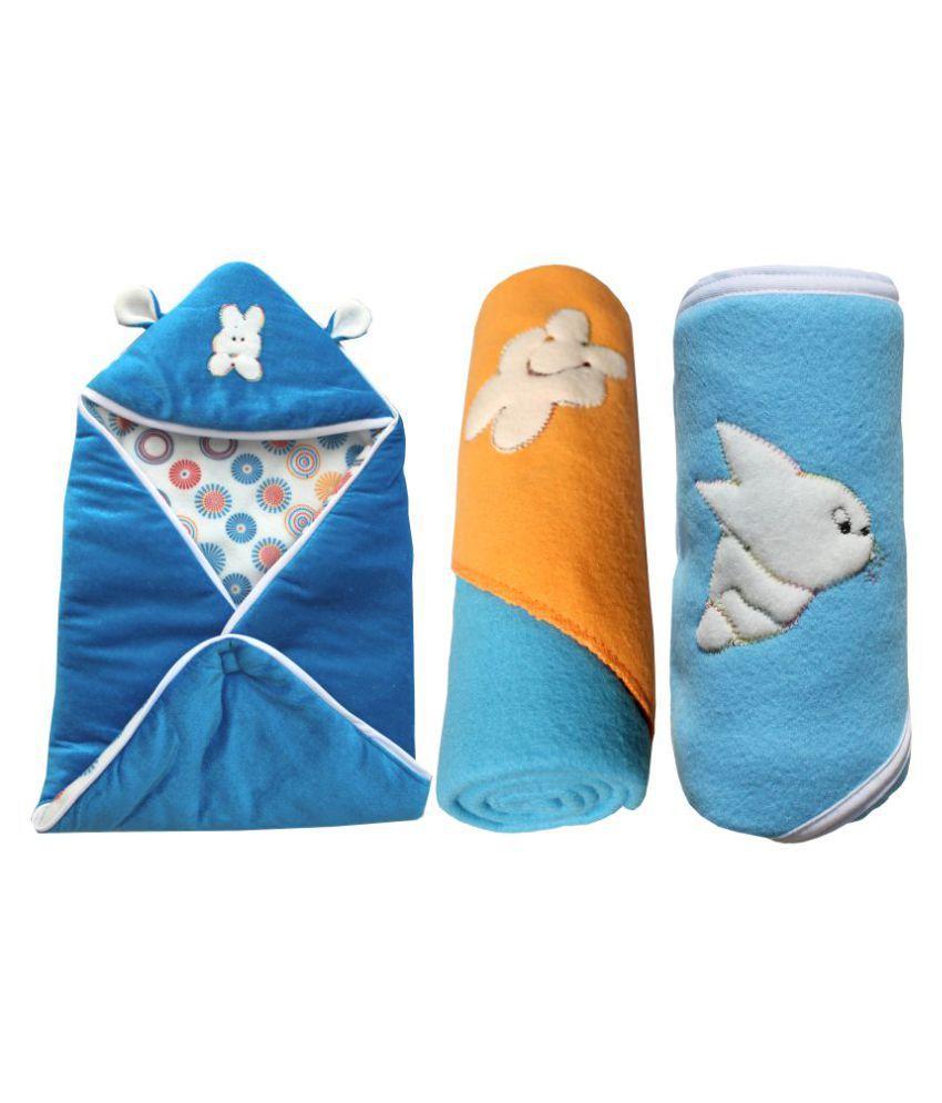 My NewBorn Blue Velvet Baby Wrap cum blanket ( 66 cm × 66 cm - 3 pcs)