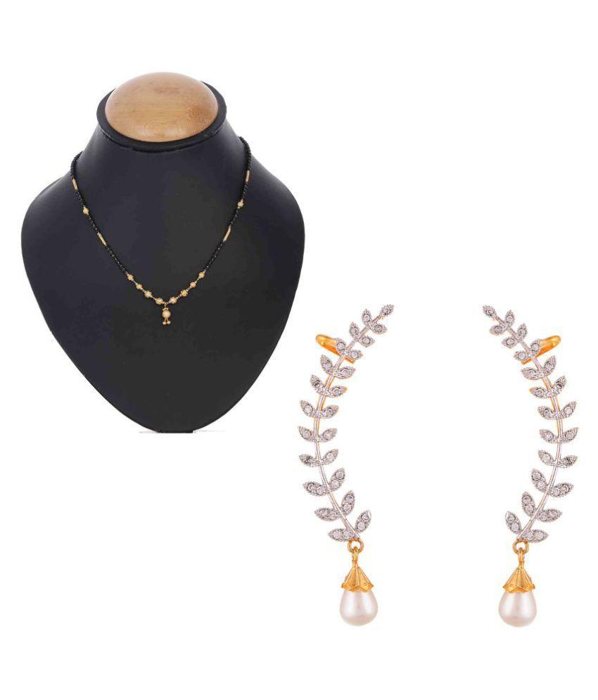 PCHALK Shining Diva American Diamond Women's Pride Raksha Mangalsutra Earring Combo Set For Women's/Girls Gift Your Valentine