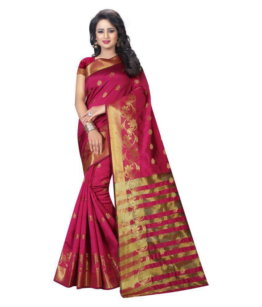 Craftliva Maroon Tussar Silk Saree