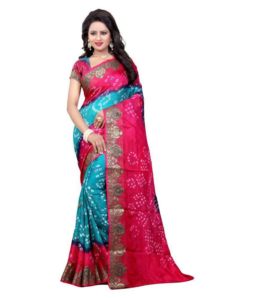Dealsure Red and Pink Art Silk Saree