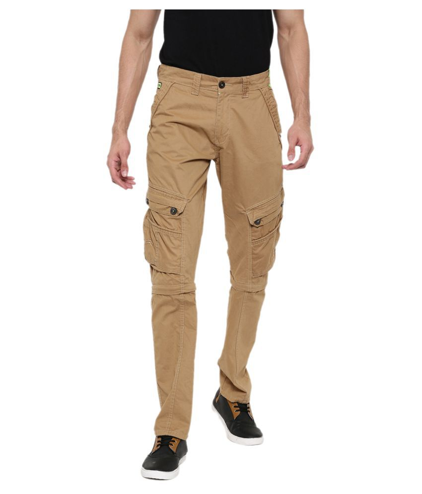 FIFTY TWO Beige Regular -Fit Flat Cargos