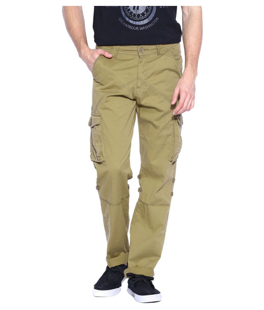 SPORTS 52 WEAR Khaki Regular -Fit Flat Cargos