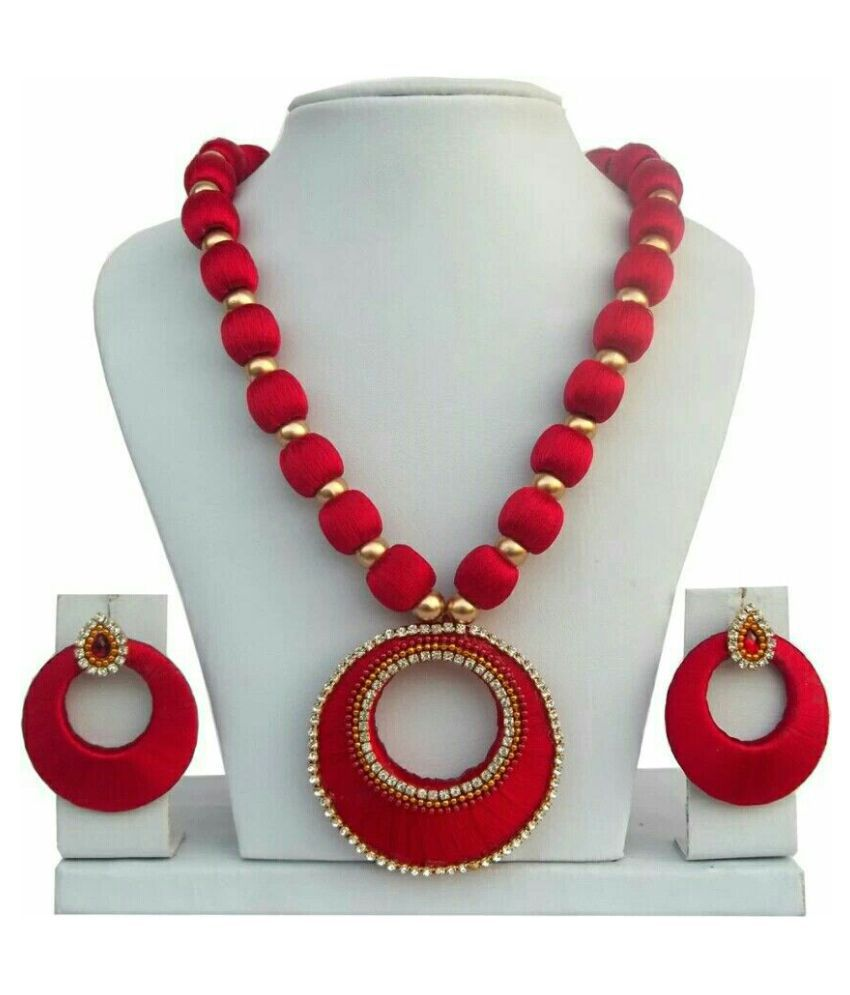 jewellery handcrafted necklace jewelry silk red wine circul long trade mersio balls mersi fair products