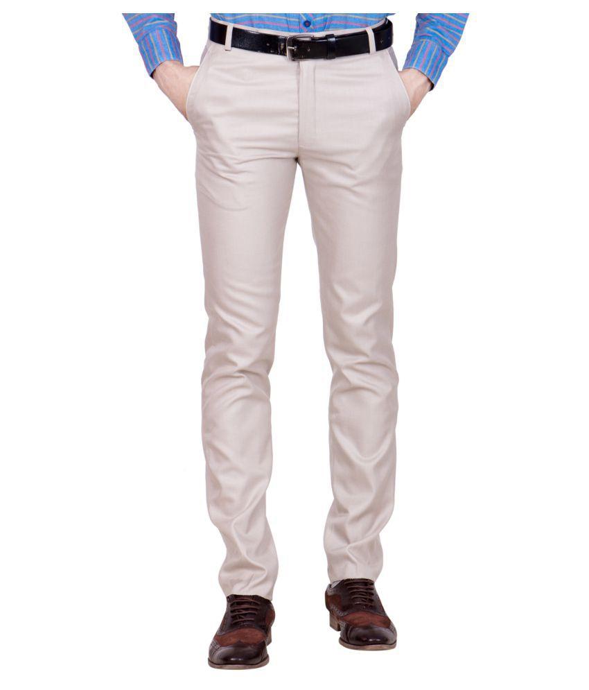 Shaurya-F Beige Regular -Fit Flat Trousers