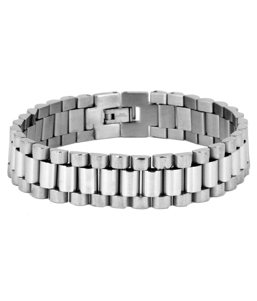 The Jewelbox Watch Style Glossy Silver Plated 316L Surgical Stainless Steel Bracelet For Boys Men
