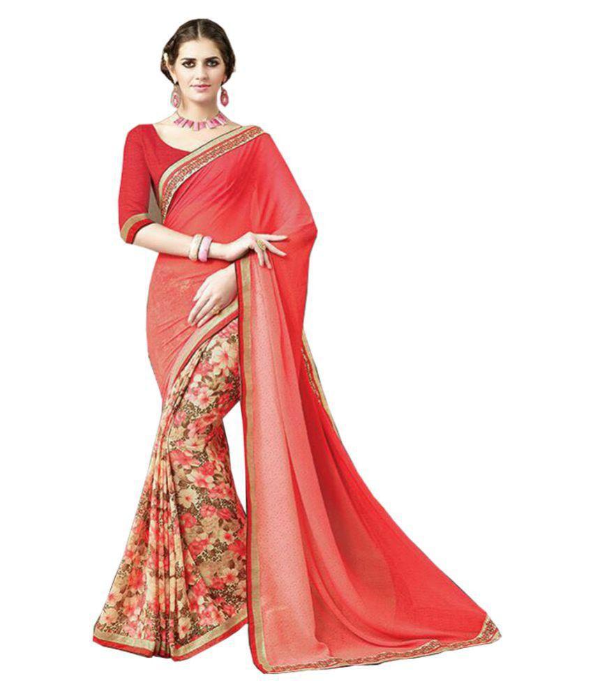 Kavya Fashion Red Georgette Saree