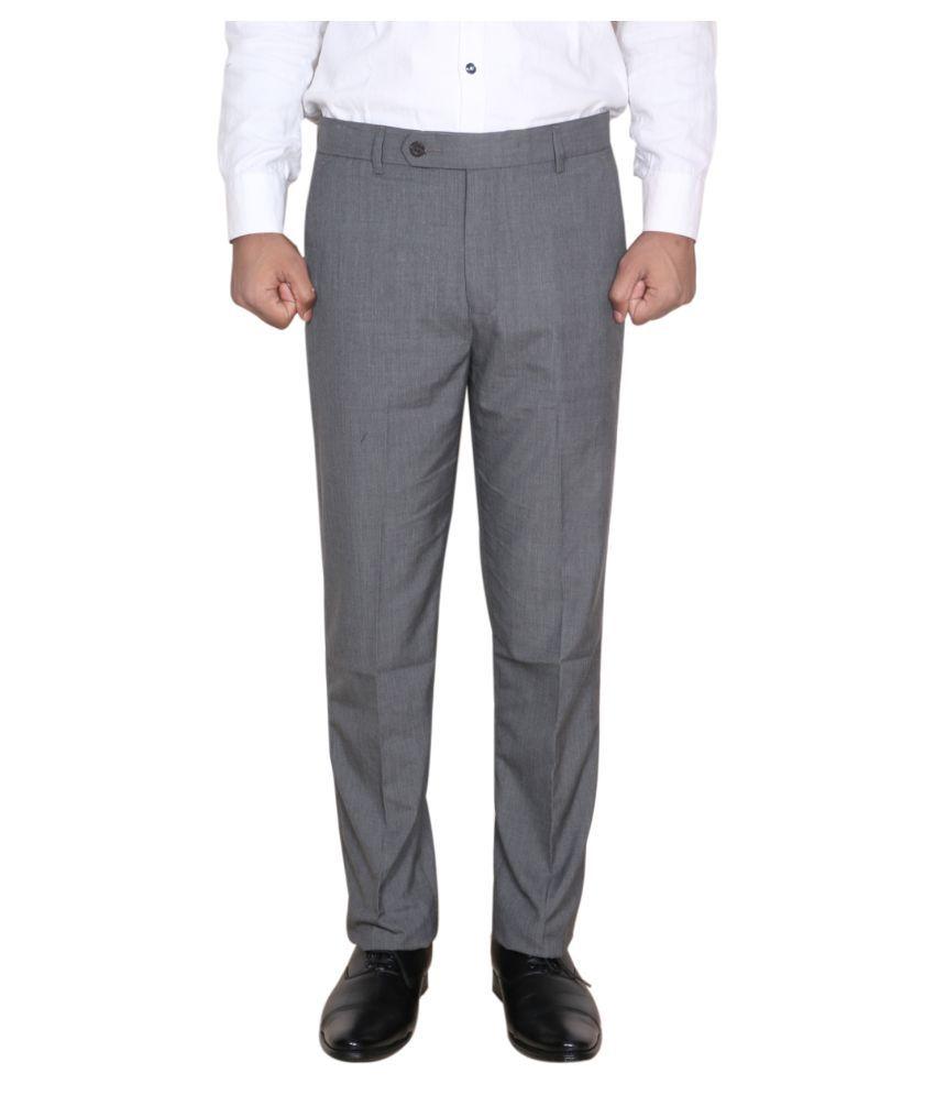 IndiWeaves Grey Regular -Fit Flat Trousers