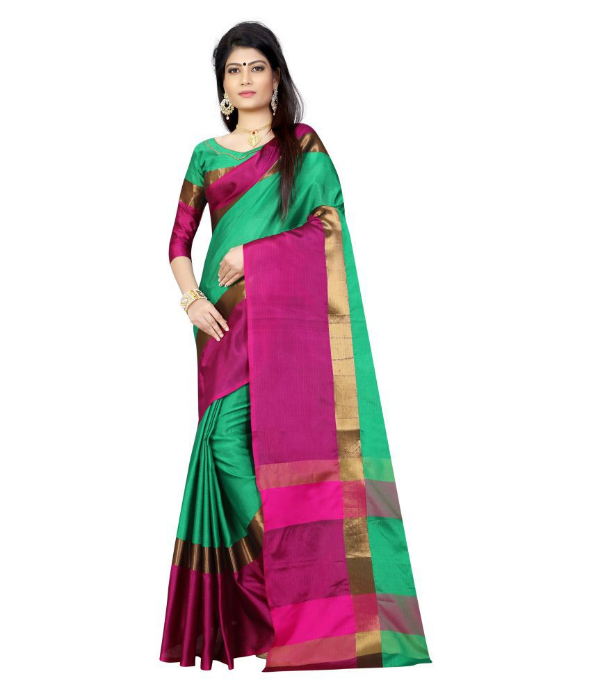 Sanjana collection Green Silk Blends Saree