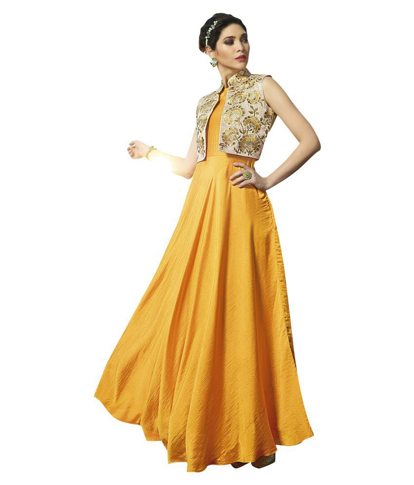 The Ethnic Chic Yellow Satin A-line Stitched Suit