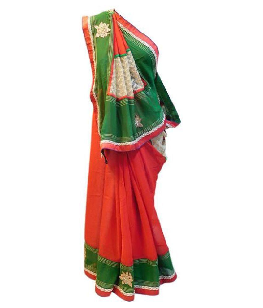 SMSAREE Red Silk Saree