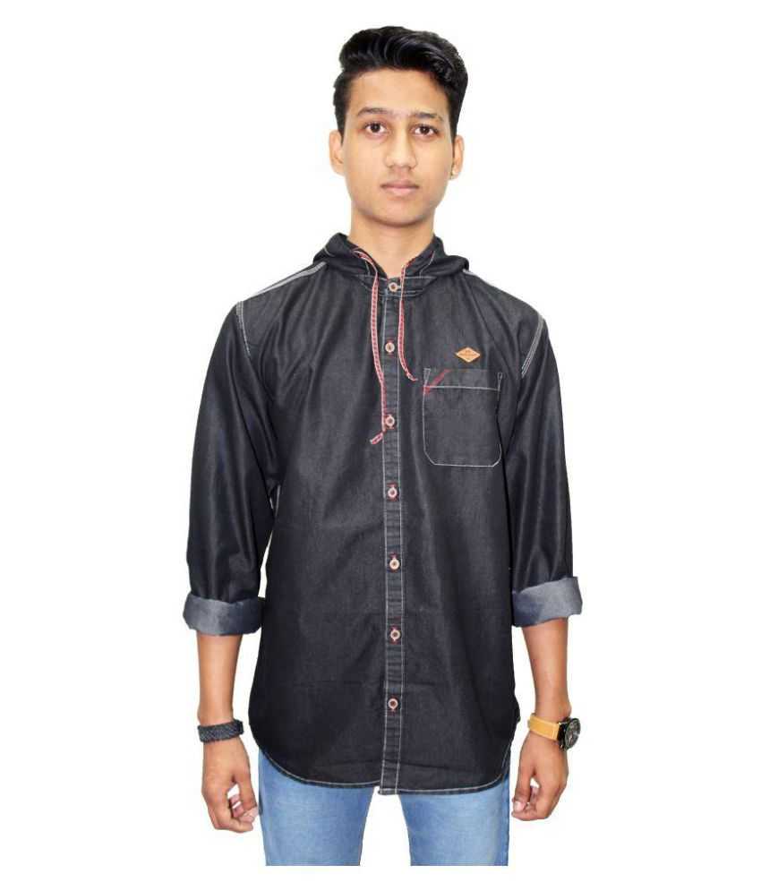 Kuons Avenue Black Casual Slim Fit Shirt