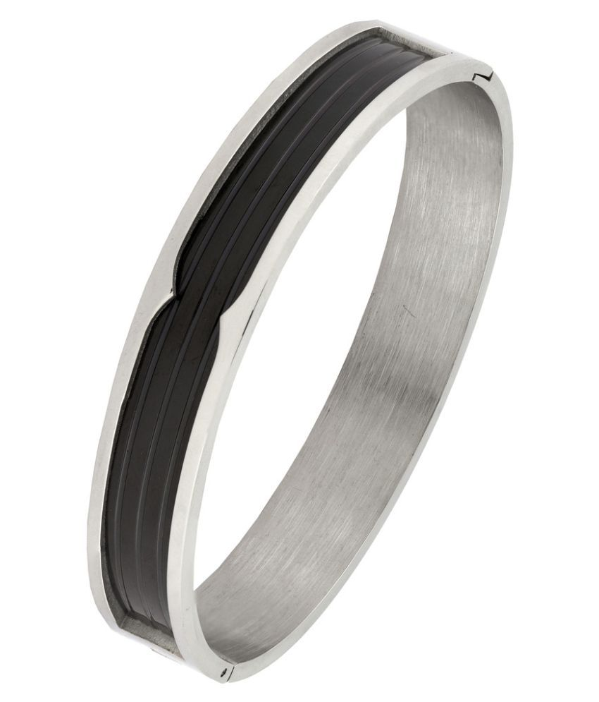 The Jewelbox Black Silver 316L Surgical Stainless Steel Rhodium Plated Openable Bangle Bracelet For Men