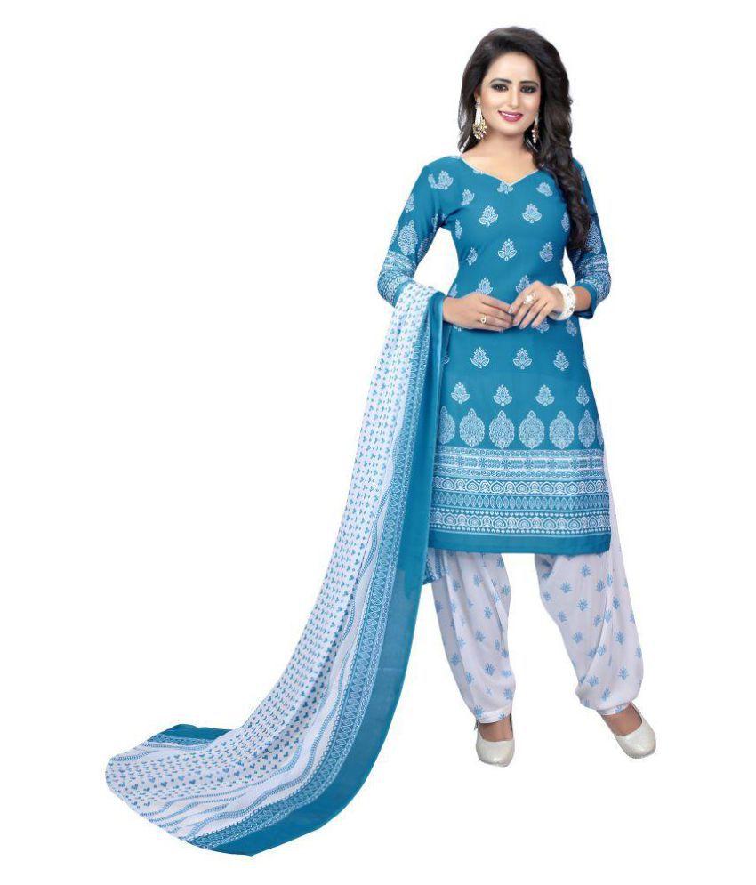 SHREE RAJLAXMI SAREES Blue Crepe Silk Dress Material