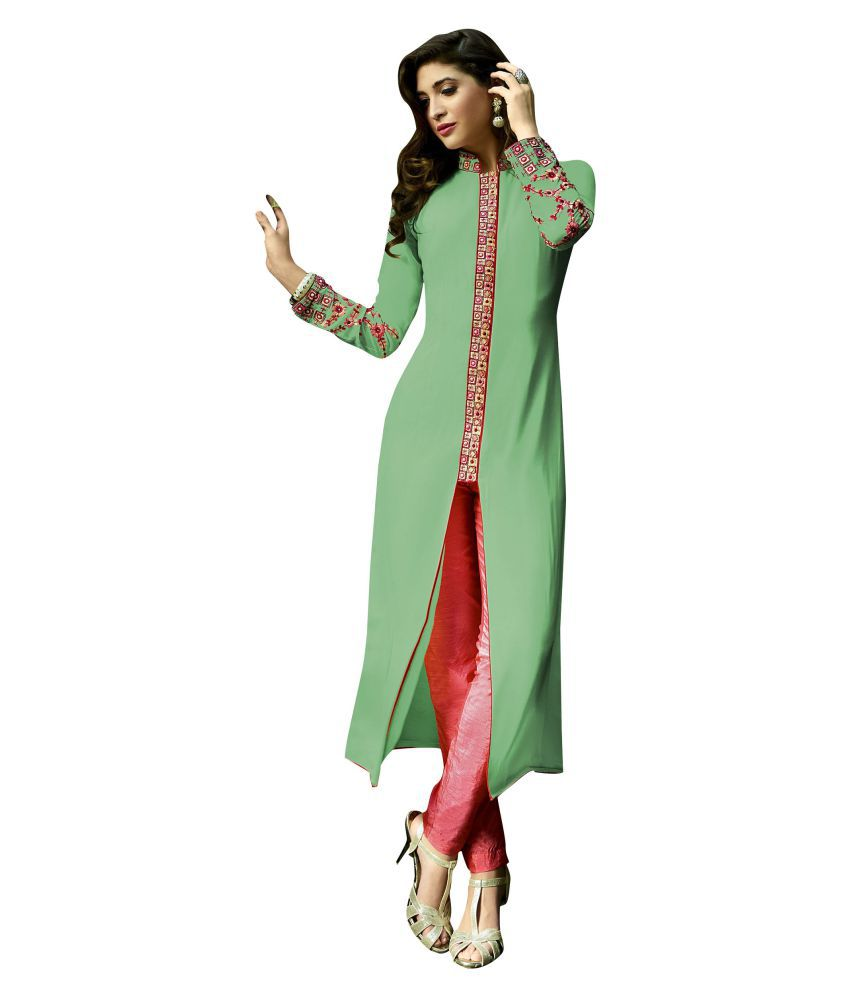 Urban India Green Georgette A-line Kurti