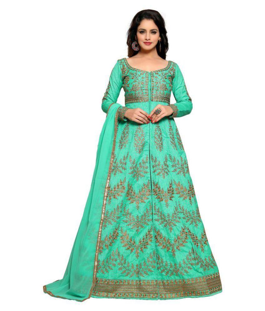9eb3273f8845 YOYO FASHION Green and Blue Bangalore Silk Anarkali Gown Semi-Stitched Suit  - Buy YOYO FASHION Green and Blue Bangalore Silk Anarkali Gown  Semi-Stitched ...
