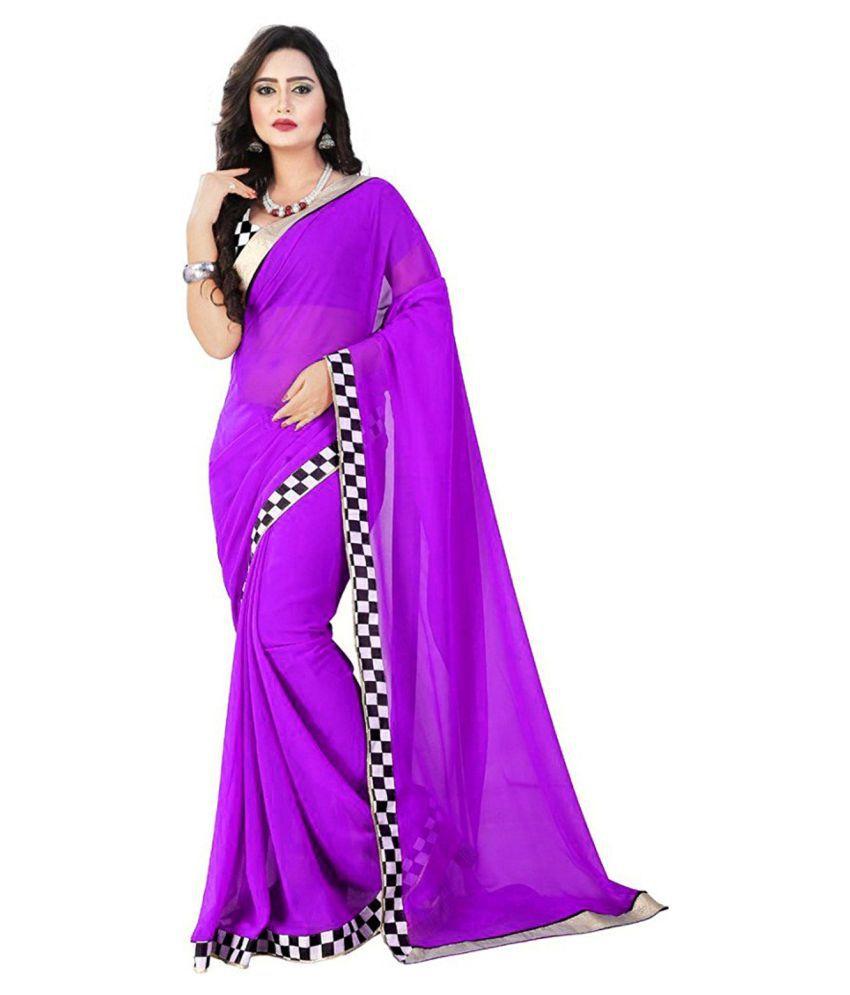 Krishna Emporia Purple Georgette Saree