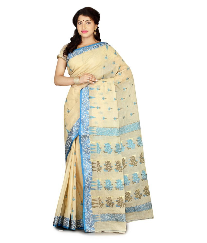 fablum Beige Cotton Saree