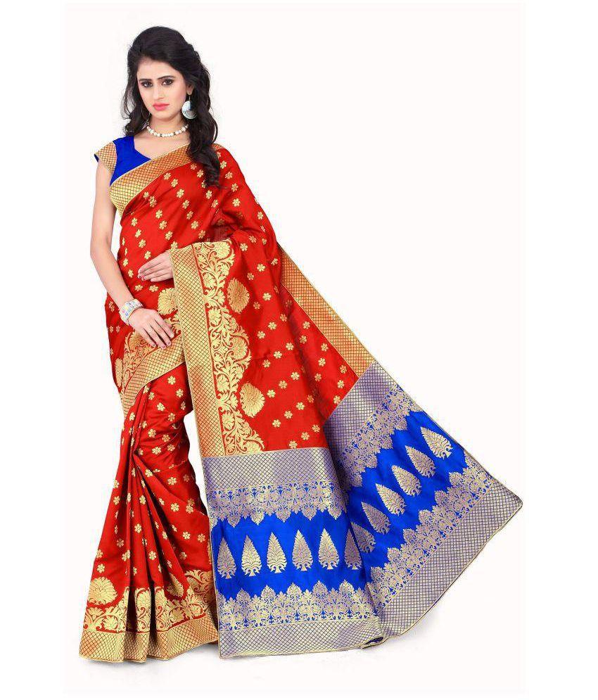 Wilori Red Banarasi Silk Saree