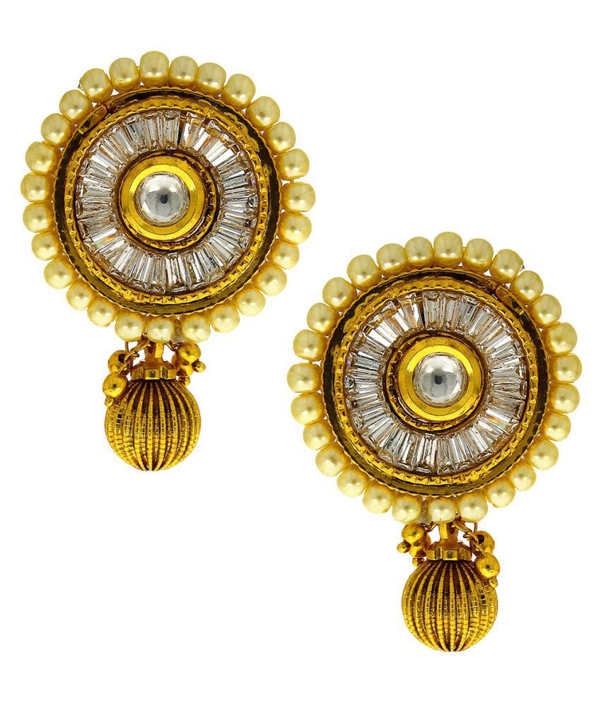 Anuradha Art Golden Colour Styled With Round Shape Designer Traditional Earrings For Women/Girls