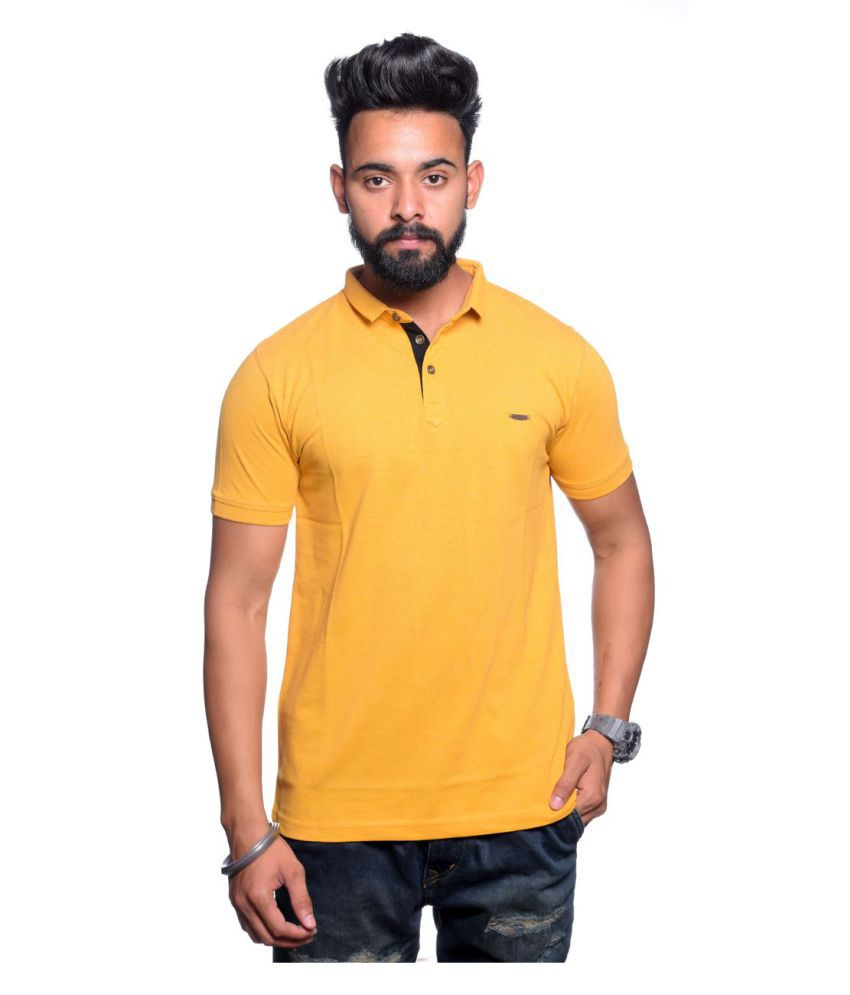 Illusion Yellow High Neck T-Shirt