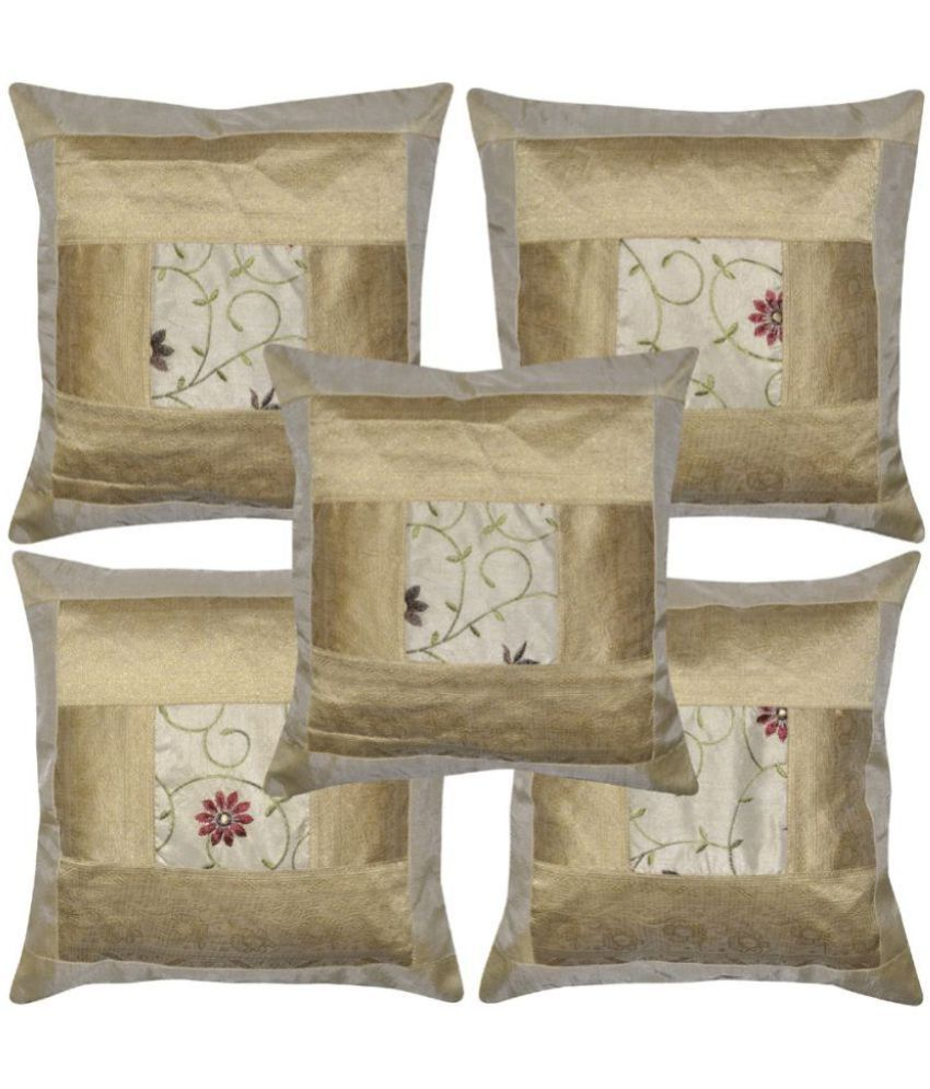 Lal Haveli Set of 5 Cotton Cushion Covers 40X40 cm (16X16)