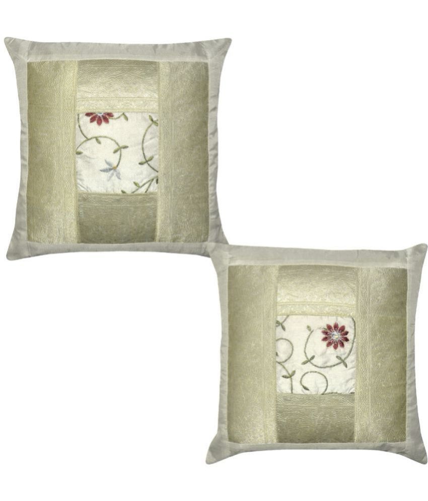 Lal Haveli Set of 2 Silk Cushion Covers 40X40 cm (16X16)
