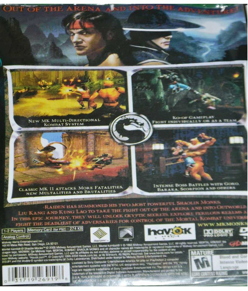 buy mortal kombat shaolin monks ps2 ( ps2 ) online at best price in