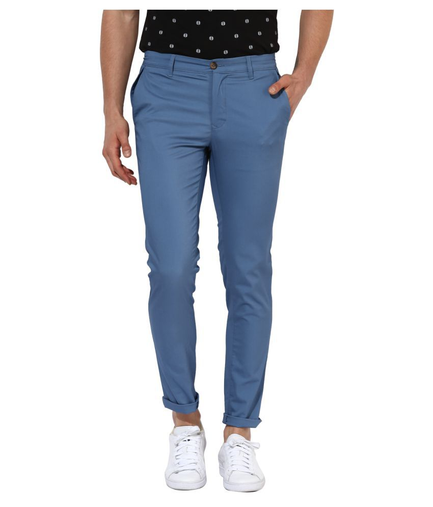 Leo Sansini Blue Regular -Fit Flat Chinos