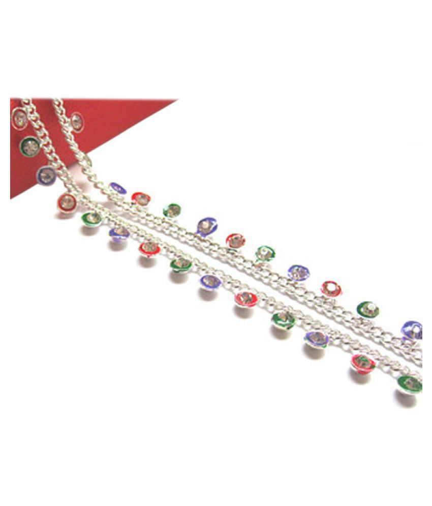Paras Abhushan Silver Plated Full Stone Payal/Anklet Multycolor