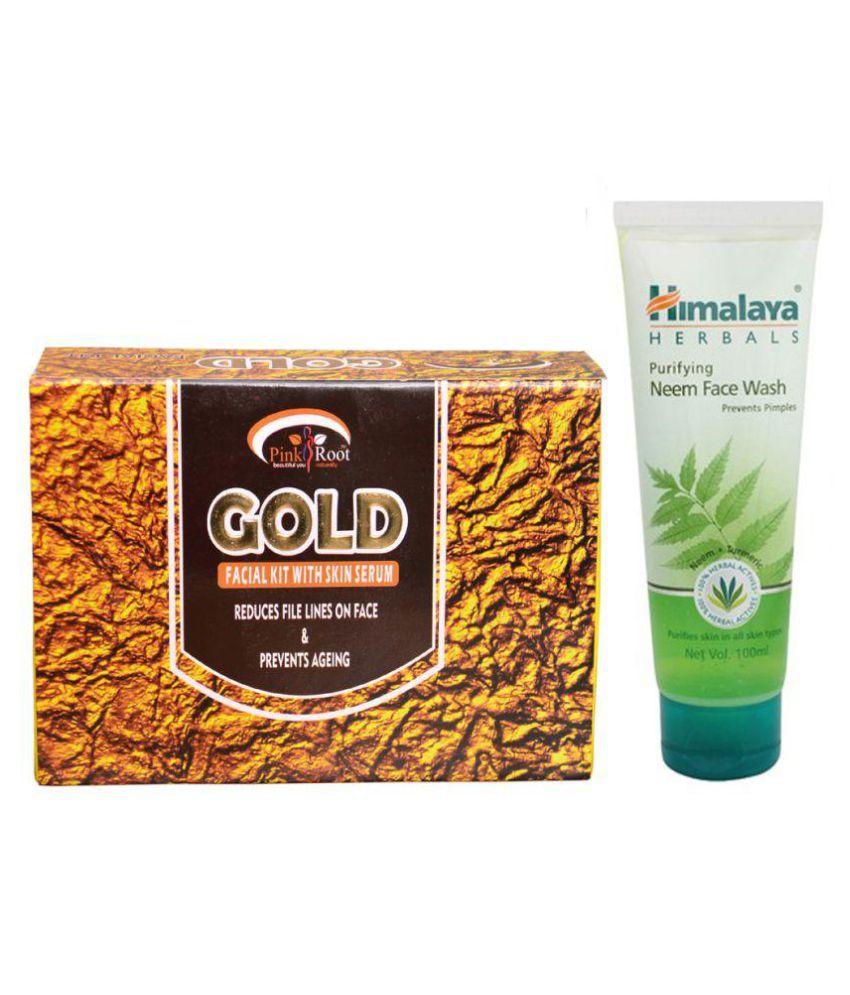 Himalaya Purifying Neem Face Wash 100ml and Pink Root Gold Facial Kit 83g Pack of 2