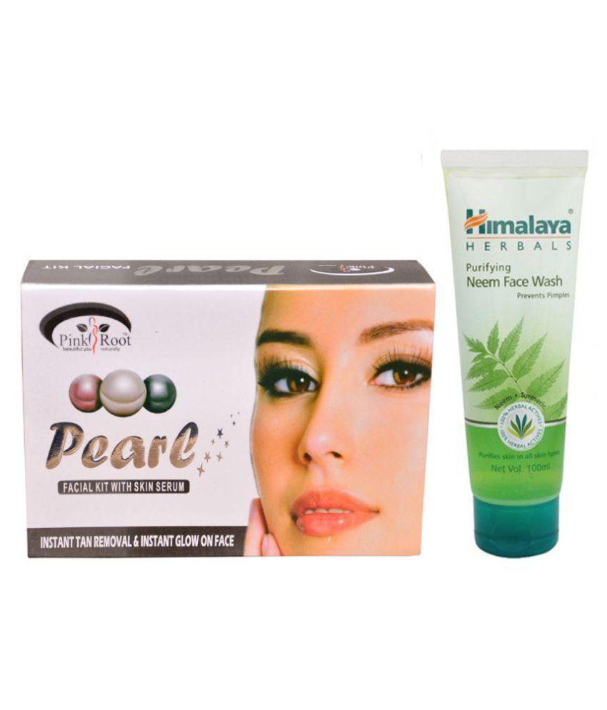 Himalaya Purifying Neem Face Wash 100ml and Pink Root Pearl Facial Kit 83g Pack of 2
