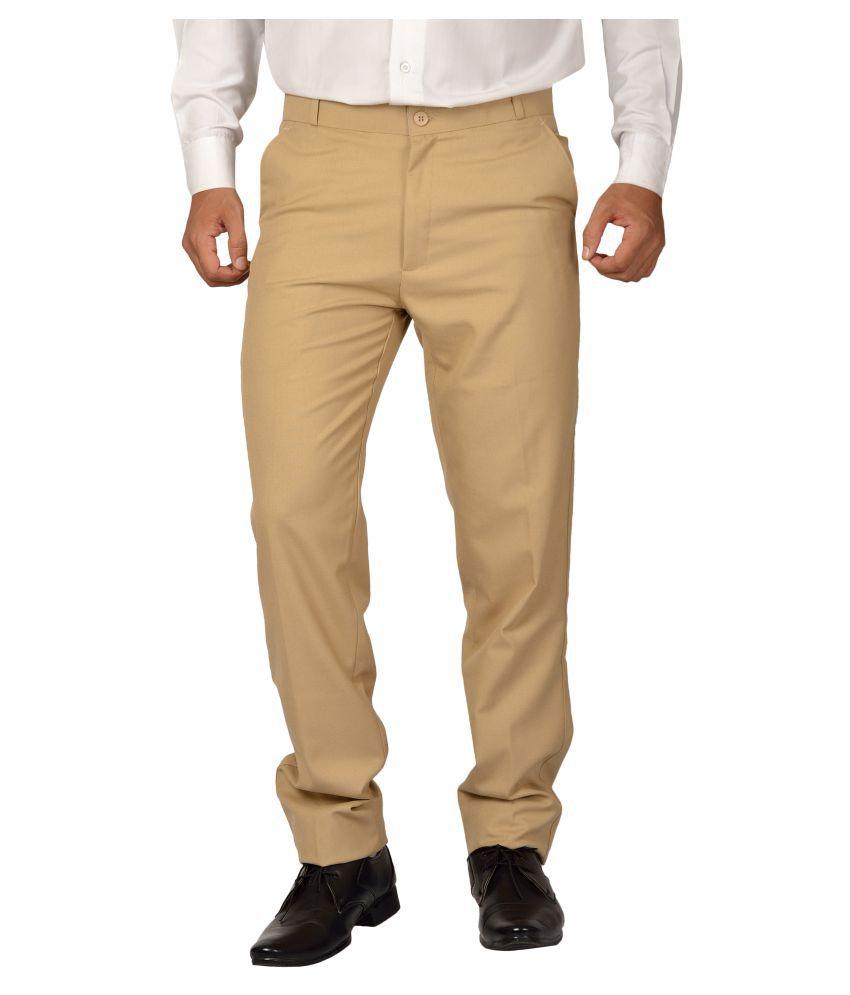 Maharaja Shirt Beige Regular -Fit Flat Trousers