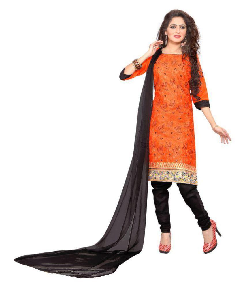 VR FASHION Orange Cotton Dress Material