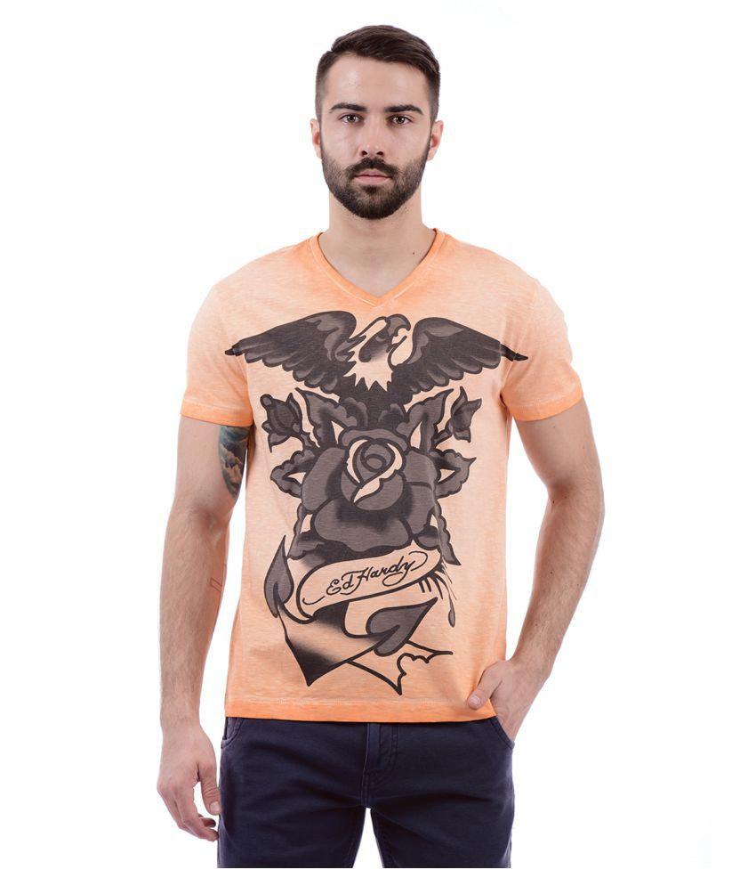 Ed Hardy Orange V-Neck T-Shirt