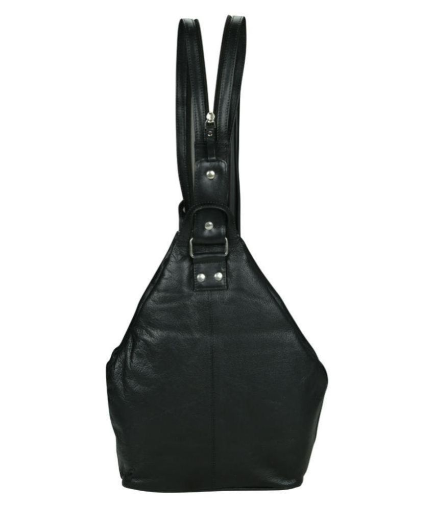 Kan Black Pure Leather Backpack