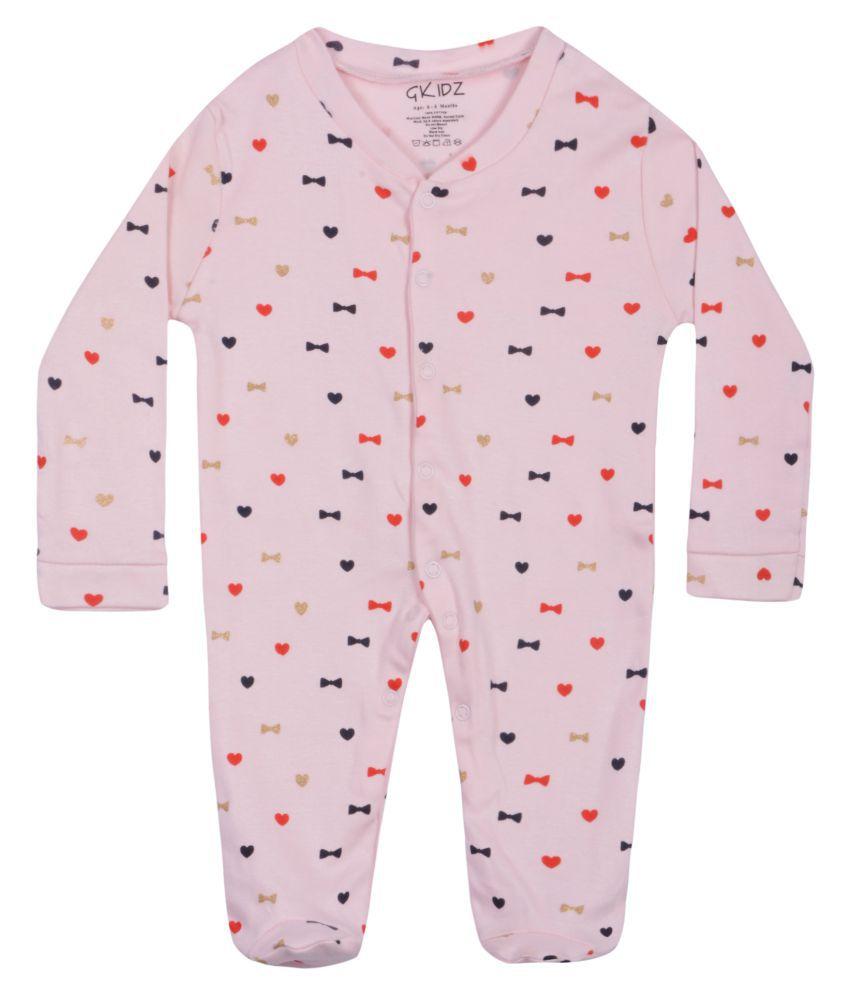 Gkidz Infants Designs Printed Pink  Long Sleeve Sleepsuit