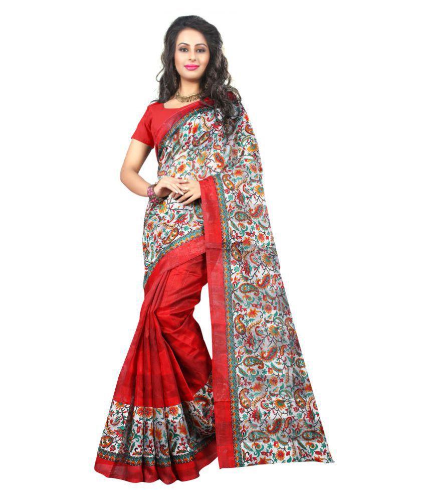 SilverStar Red and Grey Bhagalpuri Cotton Saree