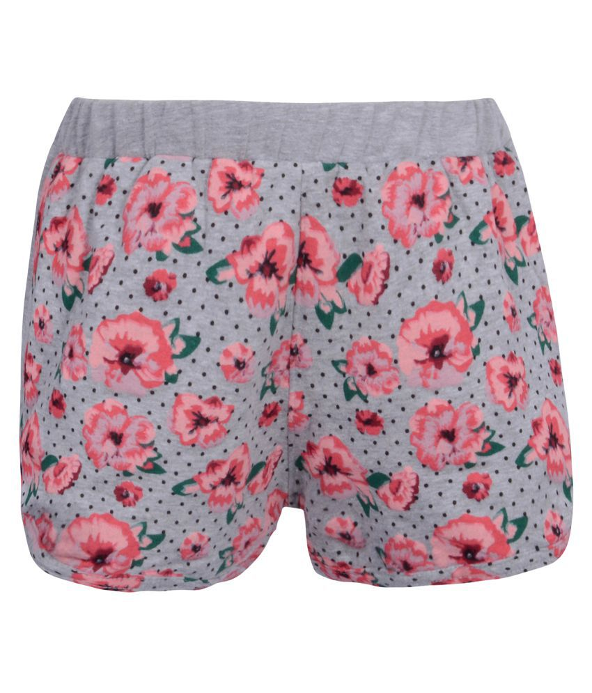 Gkidz Girls Flower Printed Grey Shorts