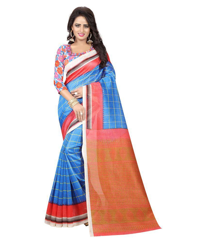 Villagius Blue Bhagalpuri Silk Saree