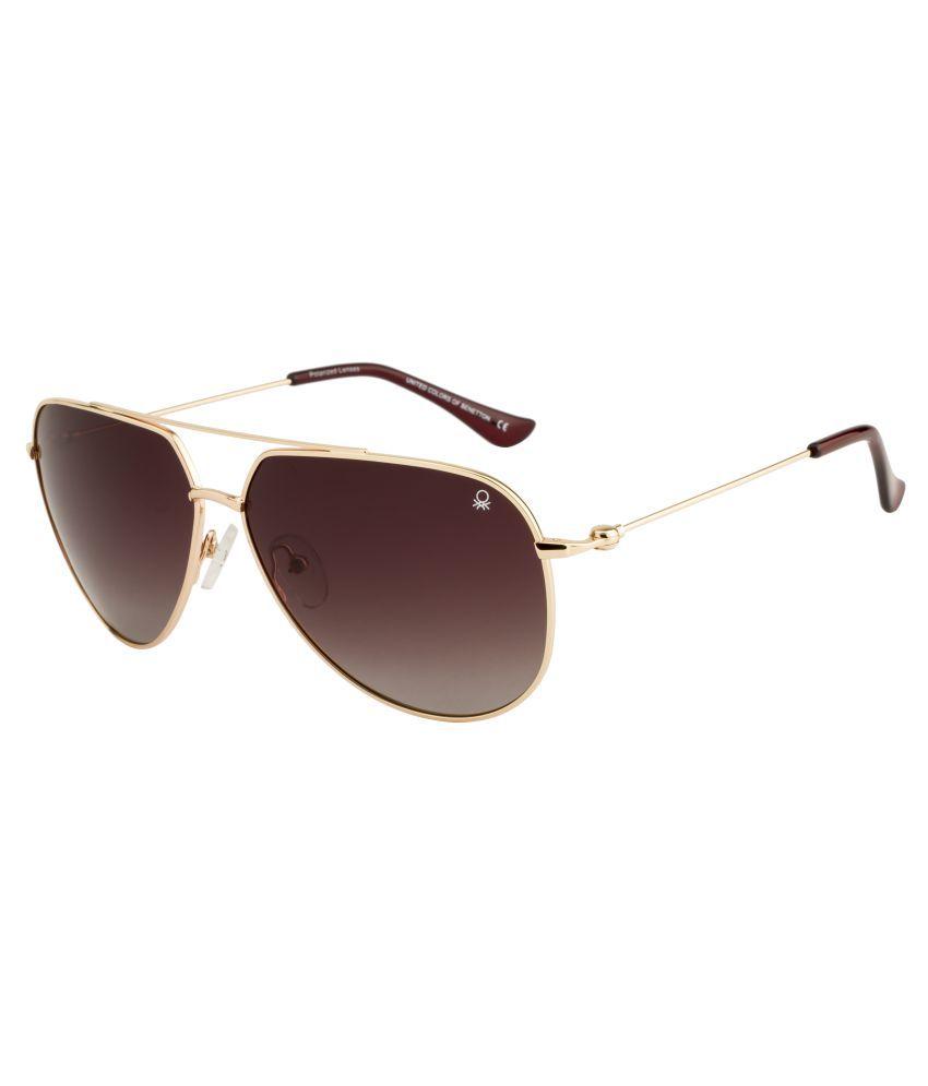 United Colors of Benetton Brown Aviator Sunglasses ( BENETTON BS572 )
