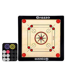 Grazzo Kids Carrom Board Small size Fun Board Game Best Family Game, Birthday Gifts for Boys and Girls, 43x43cm playing area