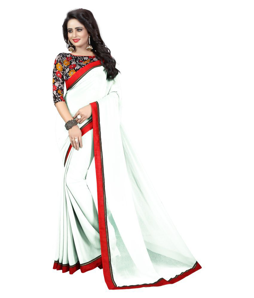b0ab76d443 Shailaja Sarees White Georgette Saree - Buy Shailaja Sarees White Georgette Saree  Online at Low Price - Snapdeal.com
