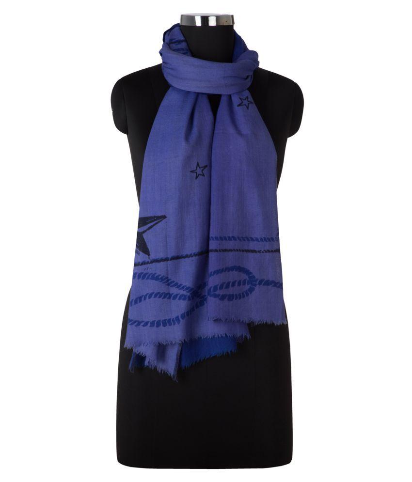 Tiara Blue Printed Wool Stoles