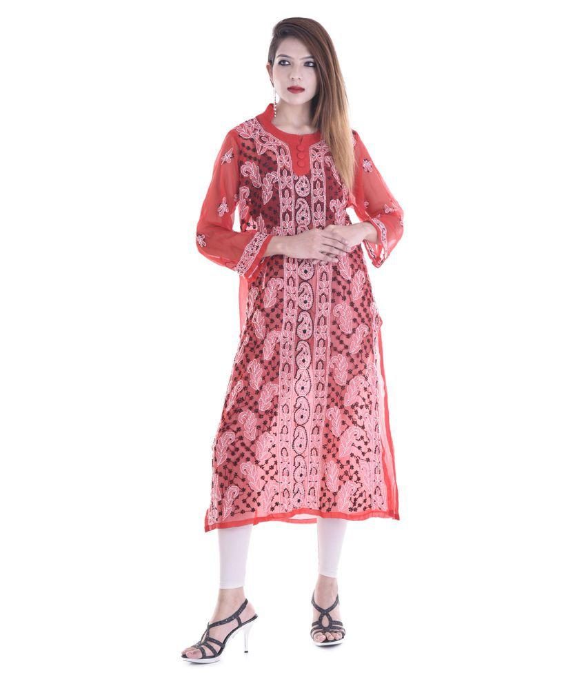 Apratim Red Georgette Straight Kurti