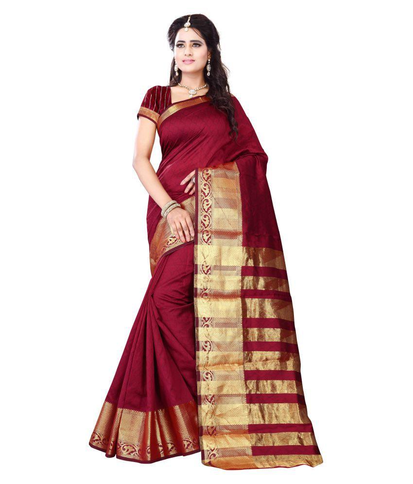 Dharmnandan Fashion Maroon Jacquard Saree
